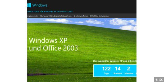 Support von Windows XP und Office 2003 endet am 8. April 2014