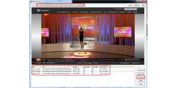 Im Browser StreamTransport sucht man ein Video heraus undstartet es kurz, um es dann über die Liste unten auf der Festplattezu speichern.