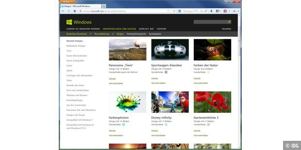 Microsoft bietet im Windows-Channel seiner Homepage jede Menge Design-Pakete zum Gratis-Download an.