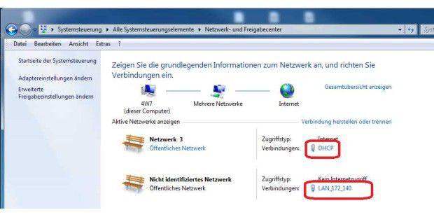 """Die Konfiguration des Netzwerks in Windows. Unser Rechner im Bild hat zwei Netzwerkinterfaces die als """"DHCP"""" und """"LAN_172_140"""" bezeichnet sind. Diese Namen sind frei wählbar. Über die Option """"Adaptereinstellungen ändern"""" passen Sie die Konfiguration an..."""