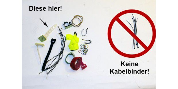 Die Utensileien: Was Sie niemals benutzen sollten, sind Kabelbinder.