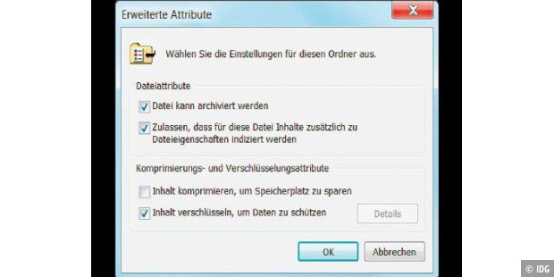 Die EFS-Verschlüsselungsoption in Windows.