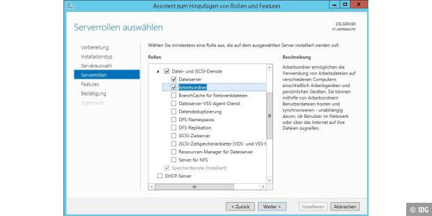 Die Arbeitsordner in Windows 8.1 installieren Sie über eine Serverrolle in Windows Server 2012 R2