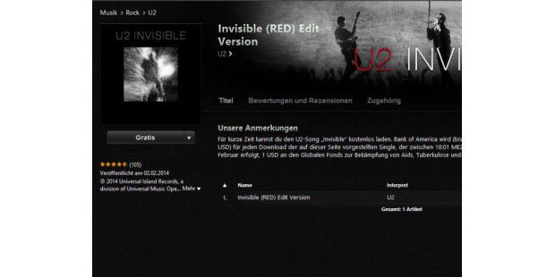 U2-Song Invisible gratis zum Download