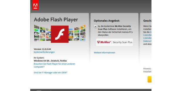 Adobe Flash Player in neuer Version