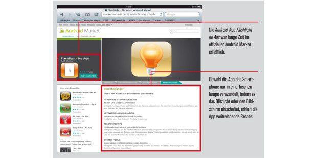 Die Android-App Flashlight no Ads war lange Zeit imoffiziellen Android Market erhältlich.