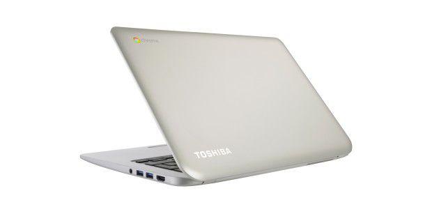 Für Deckel und Gehäuse des Chromebook hat Toshiba silberneAlu-Optik gewählt