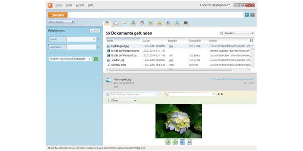 Desktop-Suchmaschine Copernic Desktop Search Lite