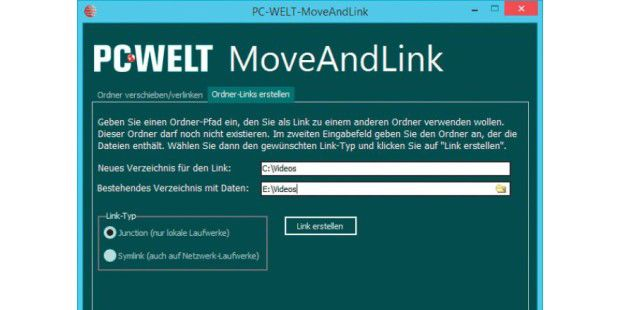 PC-WELT MoveAndLink in Aktion.