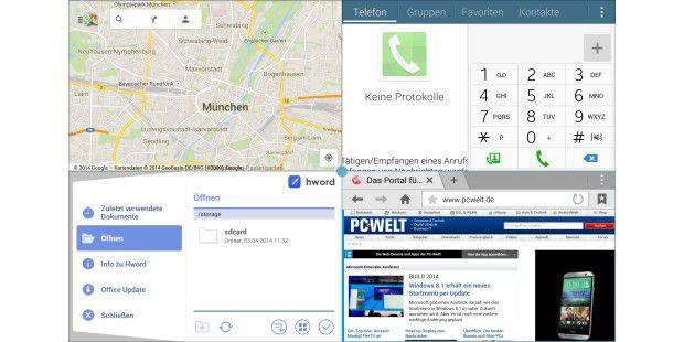 Vier Apps nebeneinander: Der große Bildschirm bietet vielPlatz