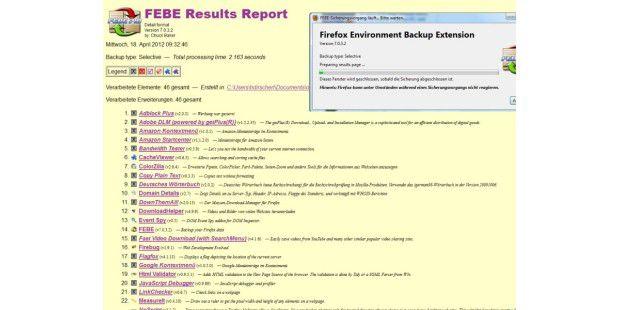 Mit Firefox Extension Backup Extension FEBE sichern Sie unter anderem alle Firefox-Addons auf einem beliebigen Speicherort. Hinweis: Der Screenshot zeigt eine ältere Version von FEBE.