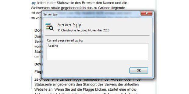 Server Spy liefert kurz und knapp den verwendeten Server