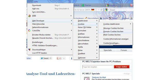Mit der Webdeveloper Toolbar können Sie unter anderem ruckzuck Ihre Cookies checken.