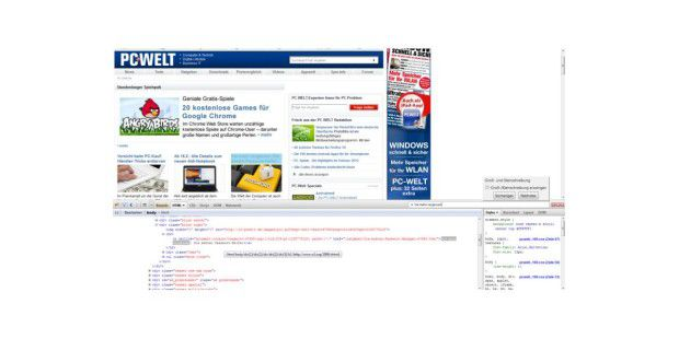 Firebug blendet sich defaultmäßig im unteren Drittel des Browserfensters ein.
