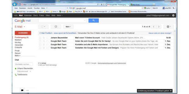 Google bietet seinen Emailnutzern 7,5 GByteGratisspeicher