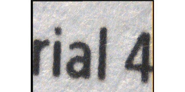 Scharfe Buchstaben selbst in der Nahaufnahme: HP LaserjetPro CP1525nw.