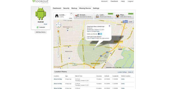 Über ein Webfrontend können Sie Ihr Android-Smartphonelokalisieren, sperren oder löschen.