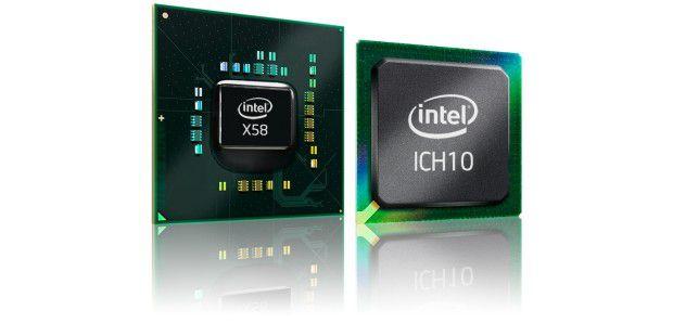 Intel-Chipsatz X58 mit klassischer Arbeitsteilung vonNorthbridge und Southbridge