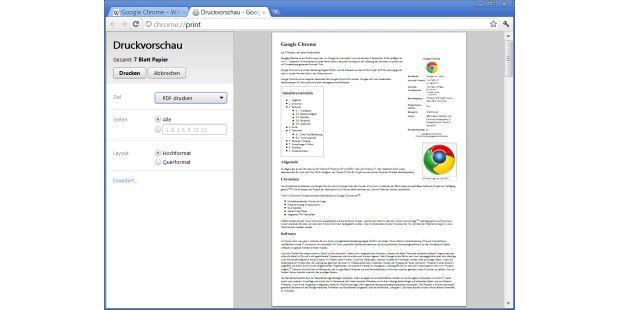 Chrome Druckvorschau