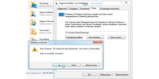 """Bei Windows 7 und Vista müssen Sie jeden Benutzerordnereinzeln verschieben, indem Sie nach einem rechten Mausklick auf ihndas Fenster """"Eigenschaften"""" öffnen. Zum Verschieben ändern Sie imEingabefeld den Laufwerksbuchstaben."""