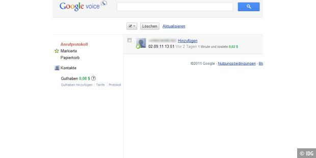 Anruf-Protokoll in Google Voice