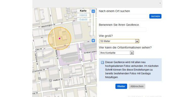 Flickr: Geofence konfigurieren