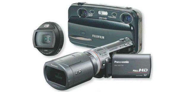Fertigen echte 3D-Aufnahmen an: die Digitalkamera Fujifilm Real 3D W3, das Panasonic-Objektiv H-FT012 und der Panasonic-Camcorder HDC-SDT750.
