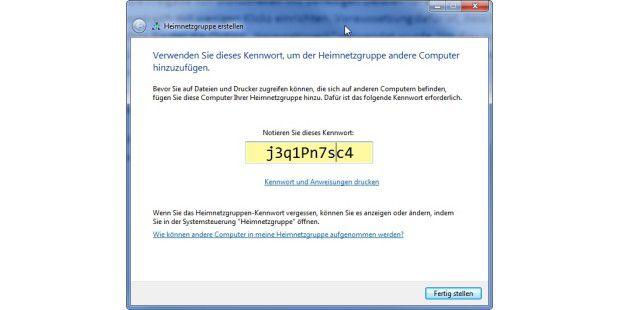 Windows generiert ein Passwort, mit dem sich andereRechner im gleichen Netzwerk in der Gruppe anmeldenkönnen.