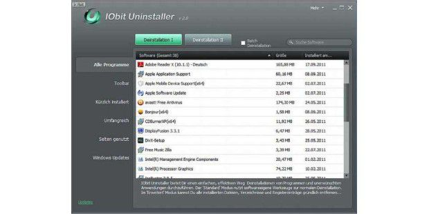 iObit Uninstaller: Software sauber deinstallieren