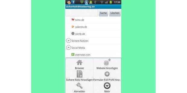 Mit der Premium-Version von Lastpass bekommen Sie einepraktische Android-App: Damit können Sie sich bei Internetseiten,für die Sie Kontodaten gespeichert haben, durch einfaches Antippenanmelden.