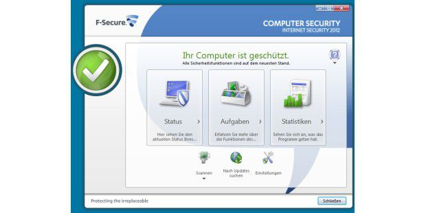 F-Secure Internet Security 2012, Hauptfenster