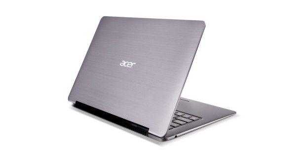 Auf dem hochwertigen Aluminium-Deckel des Acer Aspire S3hinterlassen Fingerabdrücke keine Spuren