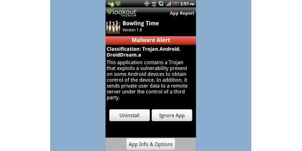 Diese Version der Android-App Bowling Time wurde mitSchadcode verseucht und wird daher von der Antiviren-App Lookoutals bösartig eingestuft.