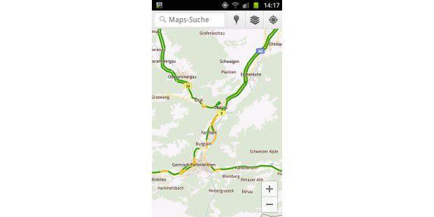 Google Maps Navigation zeigt die Verkehrslage inunterschiedlichen Farben an.