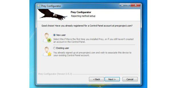 Der Prey-Konfigurator: Neuen oder existierender Userauswählen