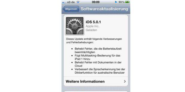iOS 5.0.1 ist erschienen