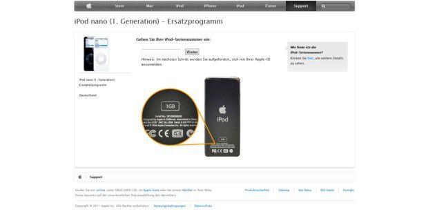 Nach dem Überprüfen der Seriennummer Ihres iPod nanowissen Sie definitv, ob Sie Ihr Gerät einschicken müssen.