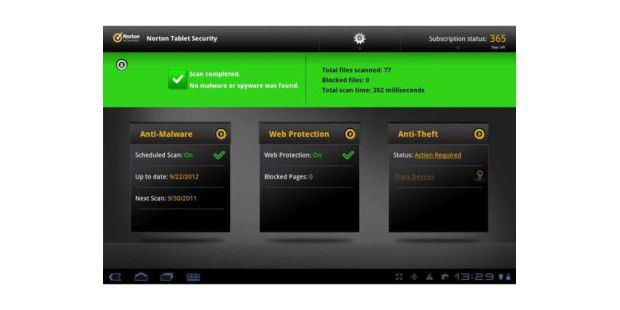 Norton Tablet Security schützt Android-Tablets