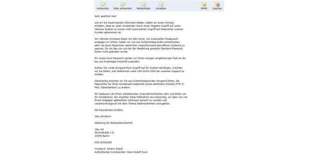 E-Mail von Freitag an die mutmaßlich Betroffenen.