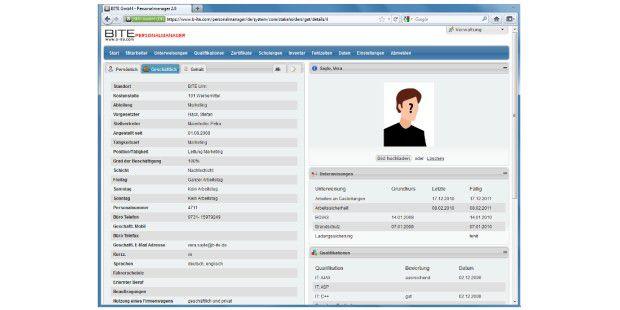 """Mit dem Personalmanager des Anbieters Bite werden allePersonalstammdaten im Modul """"Personalverwaltung"""" erfasst undverwaltet."""