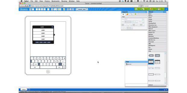 Mit einem Webservice wie Cacoo sind Diagramme rasch onlineerstellt.