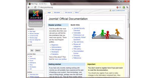 Joomla bietet in seinem Dokumentations-Wiki umfangreicheBeschreibungen für Einsteiger, Administratoren undEntwickler.