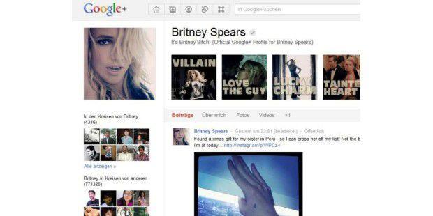 Britney Spears hat die meisten Anhänger auf Google+