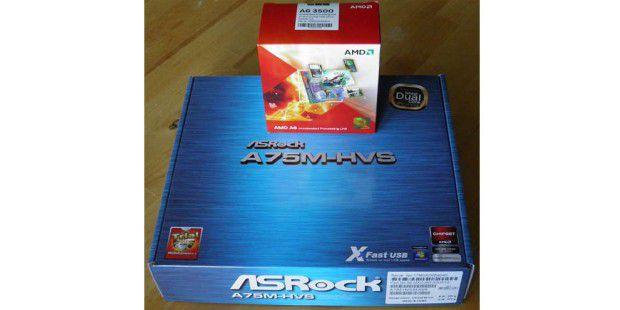 Eine A6 APU von AMD und ein Asrock-Mainboard.