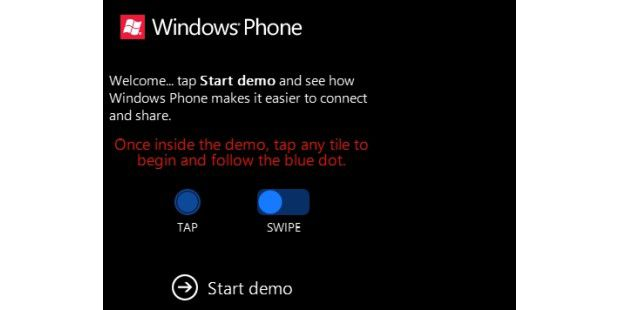 Start der Demo von Windows Phone