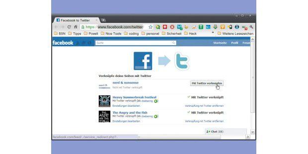 Auf dieser Seite können Sie steuern, welcheFacebook-Fanseiten direkt mit Twitter verknüpft sind.