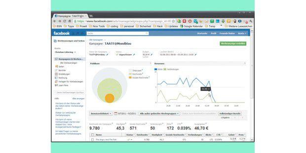 Auf der Facebook-Seite zum Verwalten Ihrer Anzeigen sehenSie detaillierte Angaben zu Seitenaufrufen und neu gewonnenenFans.