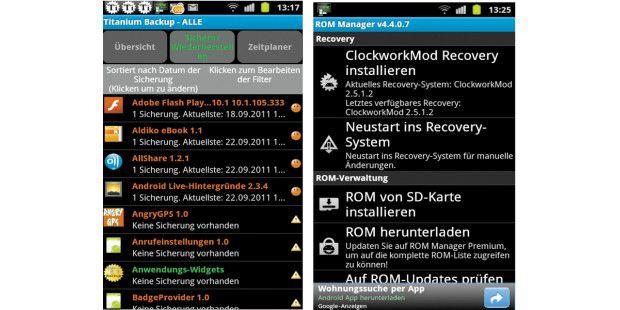 Titanium Backup (links) ermöglicht die regelmäßigeSicherung aller installierten Apps. Mit dem Rom Manager (rechts)können Sie relativ einfach eine neue Firmware installieren, die Siezuvor auf der SD-Karte abgelegt haben.