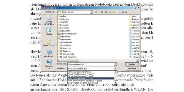 Nach der Installation lassen sich mit Office 2000, XP und2003 nicht nur Dateien 2007er- und 2010er-Format öffnen, sondernauch speichern.