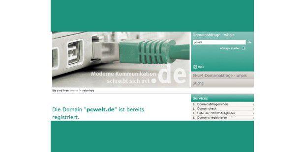 """Nach der Eingabe des Namens und dem Klick auf """"Abfragestarten"""" verrät Ihnen www.nic.de, ob eine deutsche Internetadresse(""""Domain"""") noch frei oder schon registriert ist."""
